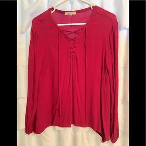 Rdb Crimson red lace front flowy blouse EUC